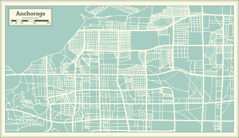 Mapa da cidade de Anchorage Alaska EUA no estilo retro Ilustração preto e branco do vetor ilustração do vetor