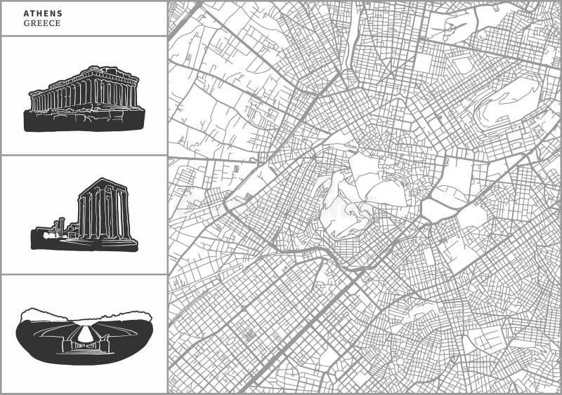 Mapa da cidade de Atenas com ícones desenhados à mão da arquitetura ilustração stock