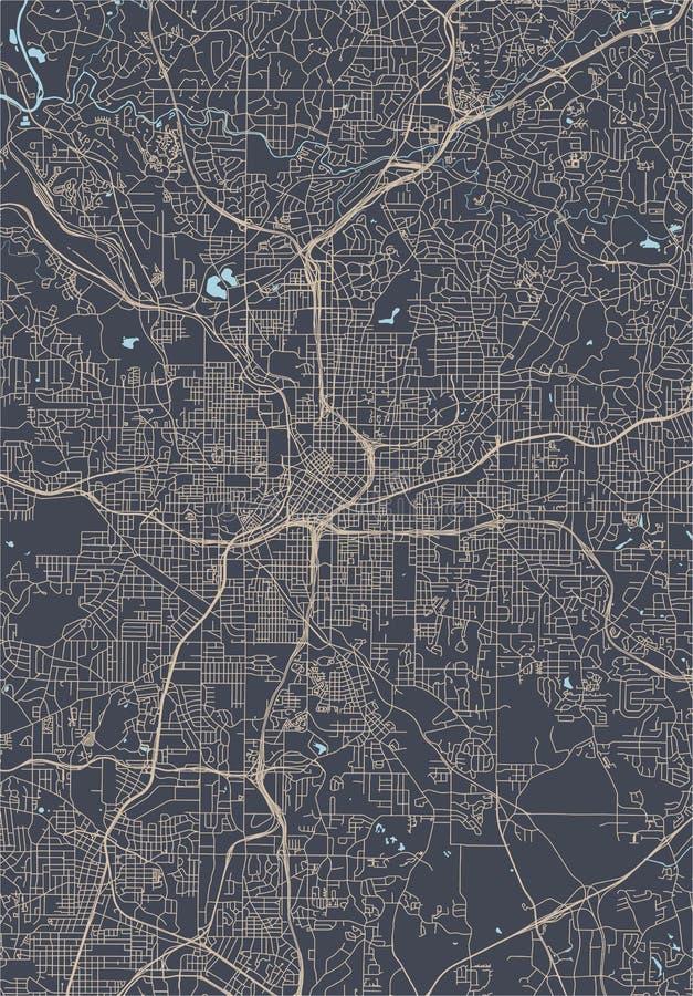 Mapa da cidade de Atlanta, EUA ilustração royalty free