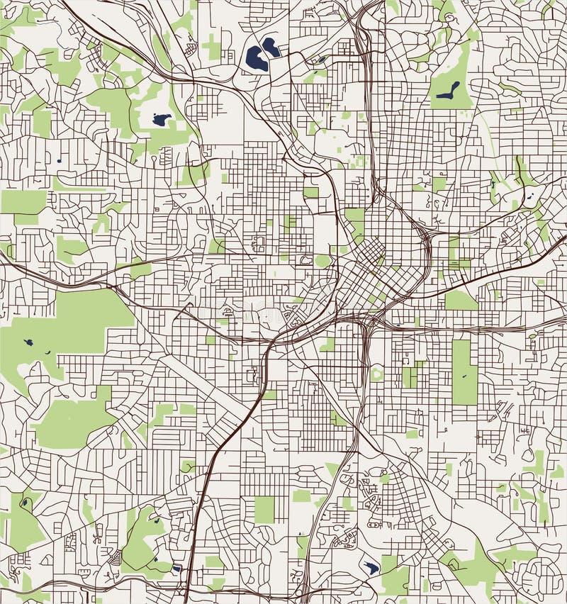 Mapa da cidade de Atlanta, EUA ilustração do vetor