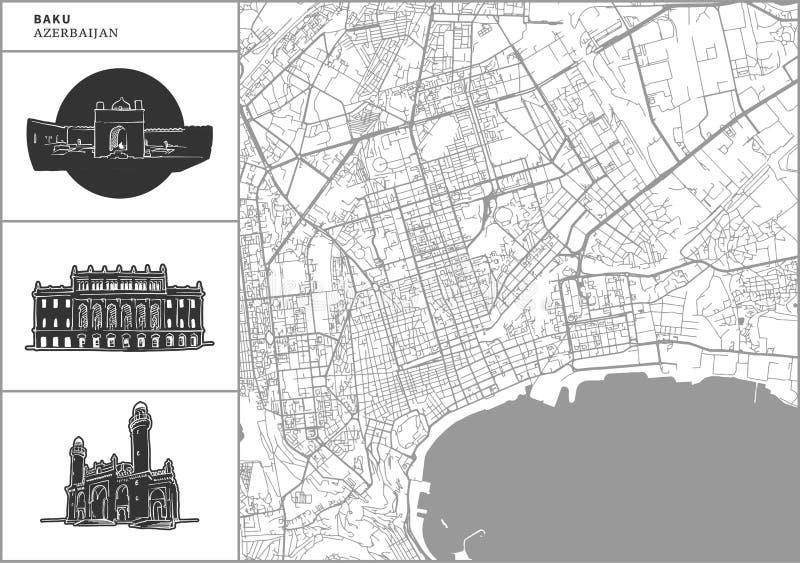 Mapa da cidade de Baku com ícones desenhados à mão da arquitetura ilustração do vetor