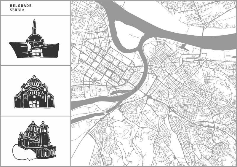 Mapa da cidade de Belgrado com ícones desenhados à mão da arquitetura ilustração royalty free