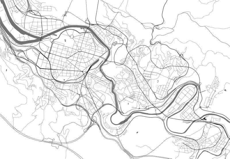 Mapa da cidade de Bilbao, Espanha ilustração stock