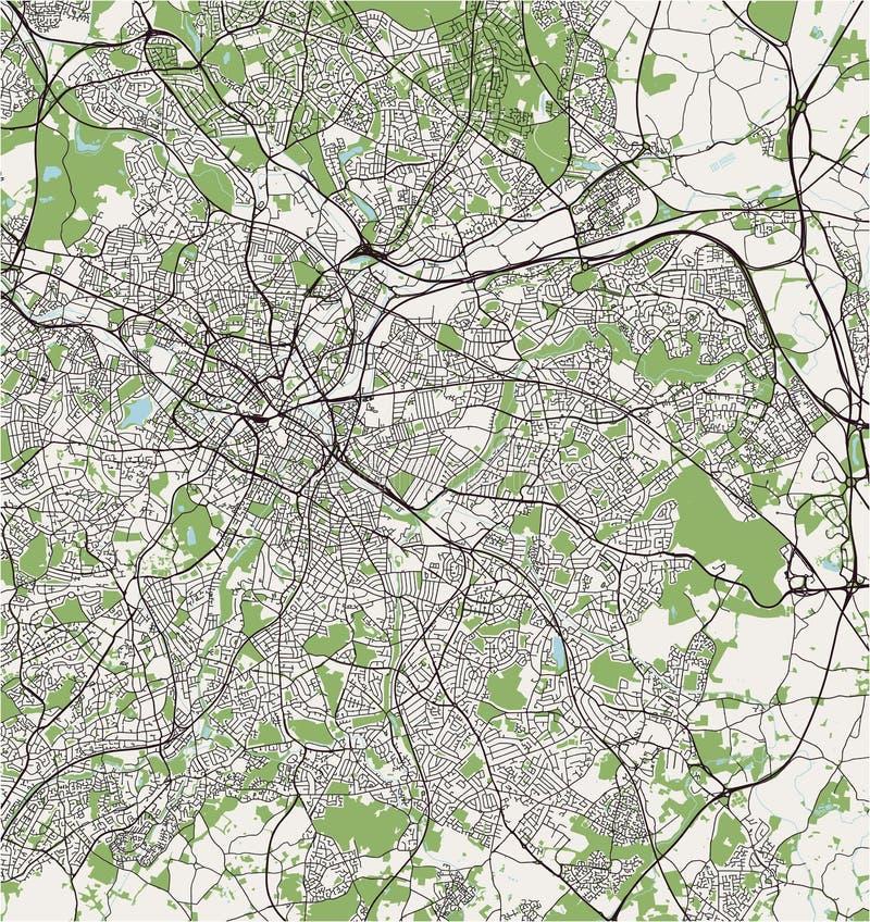 Mapa da cidade de Birmingham, Wolverhampton, região central da Inglaterra inglesa, Reino Unido, Inglaterra ilustração do vetor