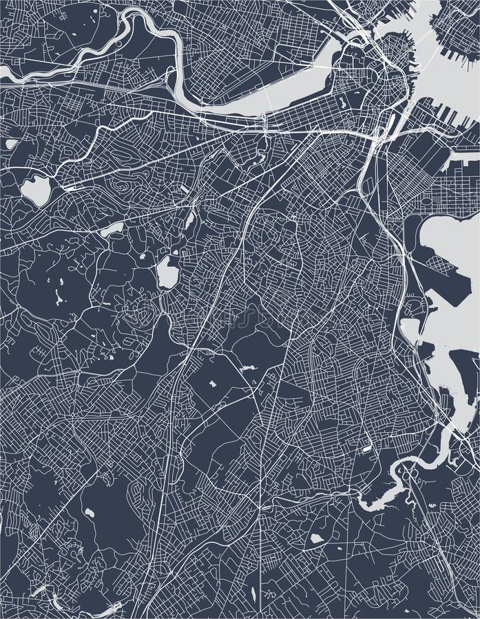 Mapa da cidade de Boston, EUA imagem de stock