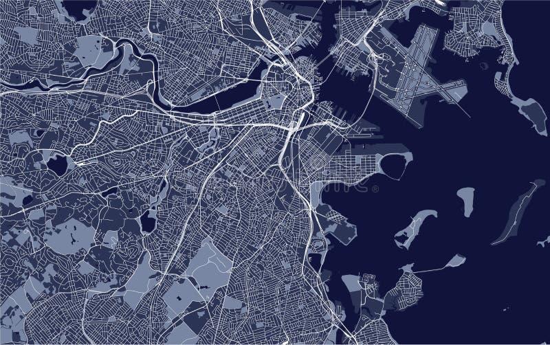 Mapa da cidade de Boston, EUA ilustração stock