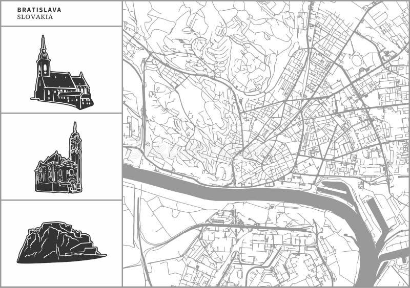 Mapa da cidade de Bratislava com ícones desenhados à mão da arquitetura ilustração do vetor