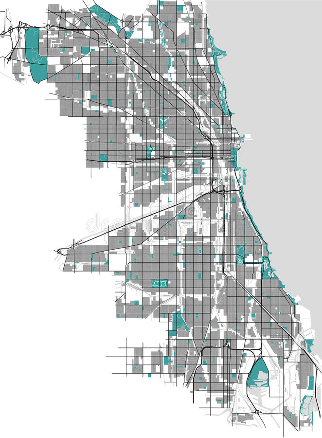 Mapa da cidade de Chicago, EUA ilustração do vetor