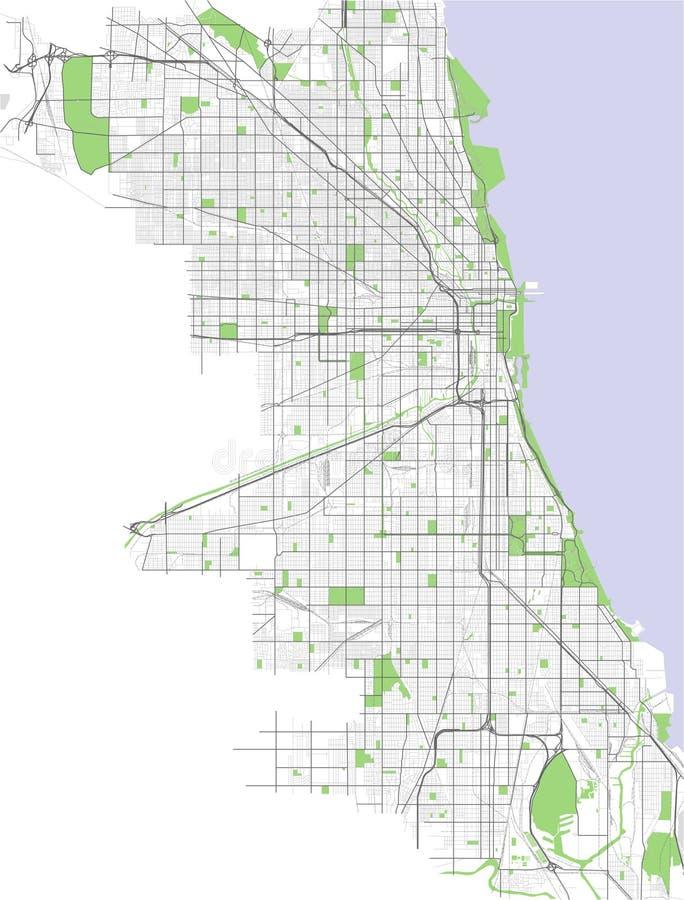 Mapa da cidade de Chicago, EUA ilustração royalty free