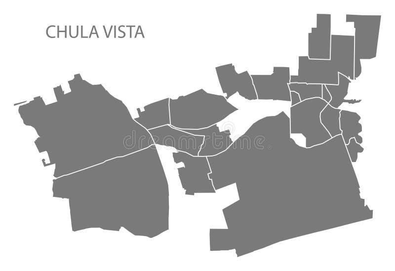 Mapa da cidade de Chula Vista Califórnia com o illustra do cinza das vizinhanças ilustração do vetor