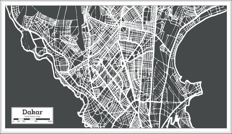 Mapa da cidade de Dacar Senegal no estilo retro Ilustração preto e branco do vetor ilustração stock
