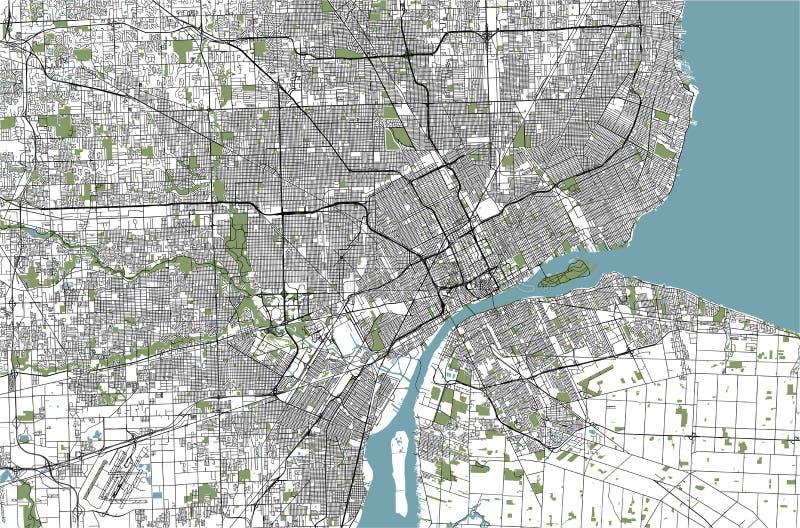 Mapa da cidade de Detroit, Michigan, EUA ilustração stock
