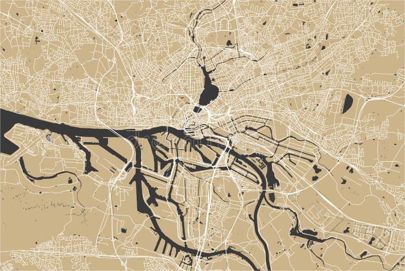 Mapa da cidade de Hamburgo, Alemanha imagem de stock royalty free