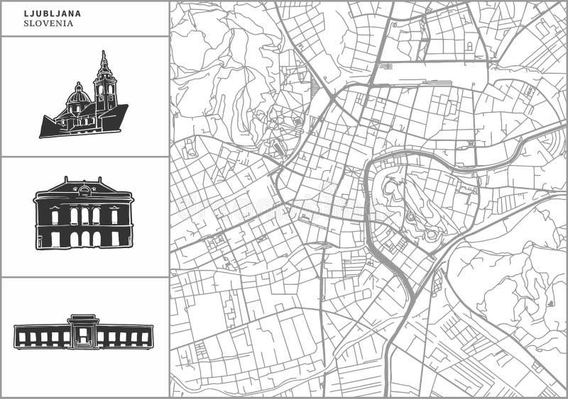 Mapa da cidade de Ljubljana com ícones desenhados à mão da arquitetura ilustração royalty free