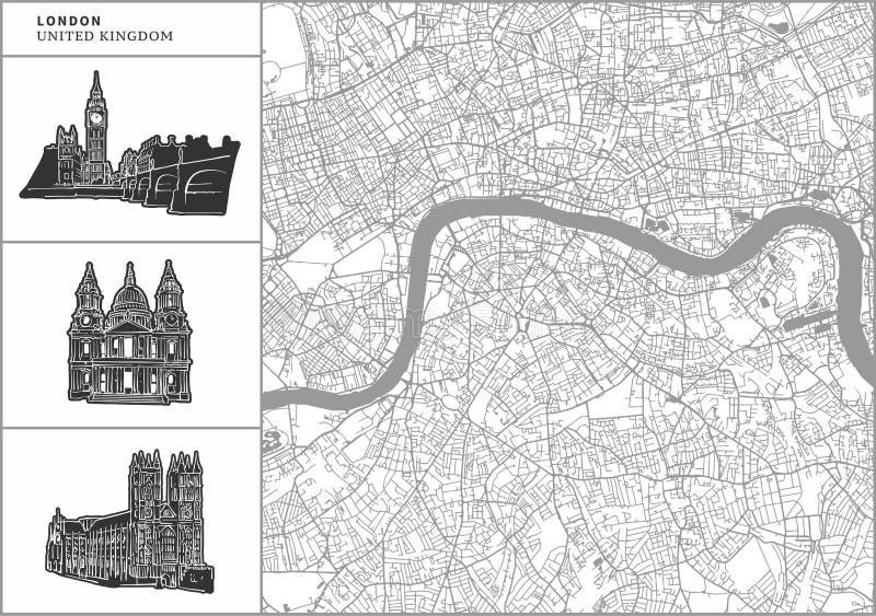Mapa da cidade de Londres com ícones desenhados à mão da arquitetura ilustração stock