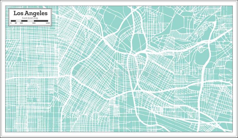 Mapa da cidade de Los Angeles Califórnia EUA no estilo retro Ilustração preto e branco do vetor ilustração royalty free