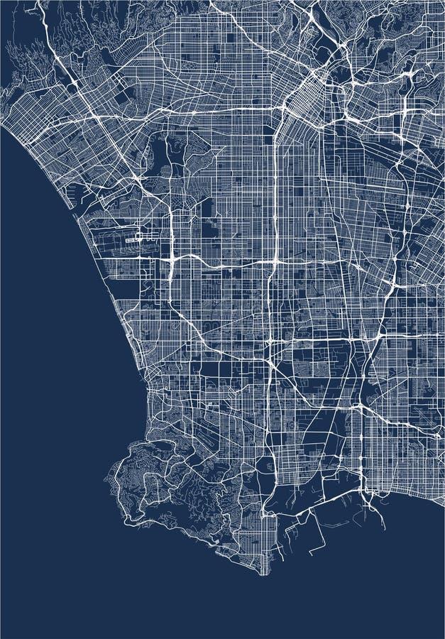 Mapa da cidade de Los Angeles, EUA ilustração do vetor