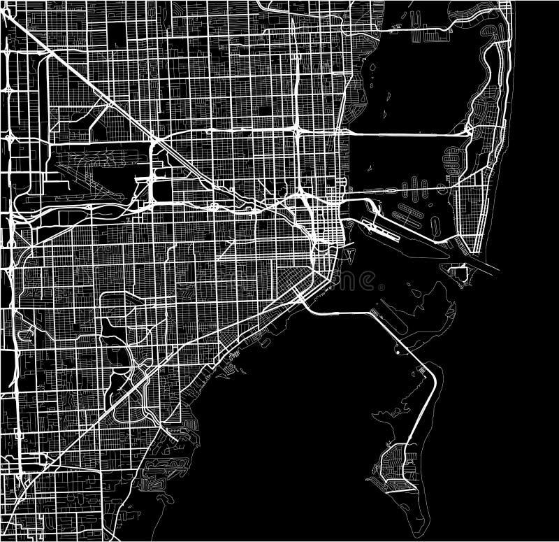 Mapa da cidade de Miami, EUA ilustração stock