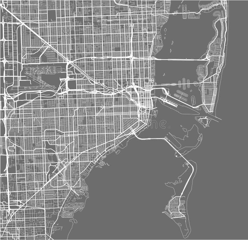 Mapa da cidade de Miami, EUA ilustração royalty free