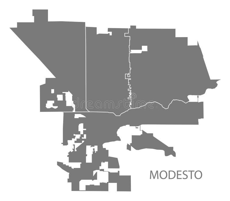 Mapa da cidade de Modesto California com forma cinzenta da silhueta da ilustração das vizinhanças ilustração stock