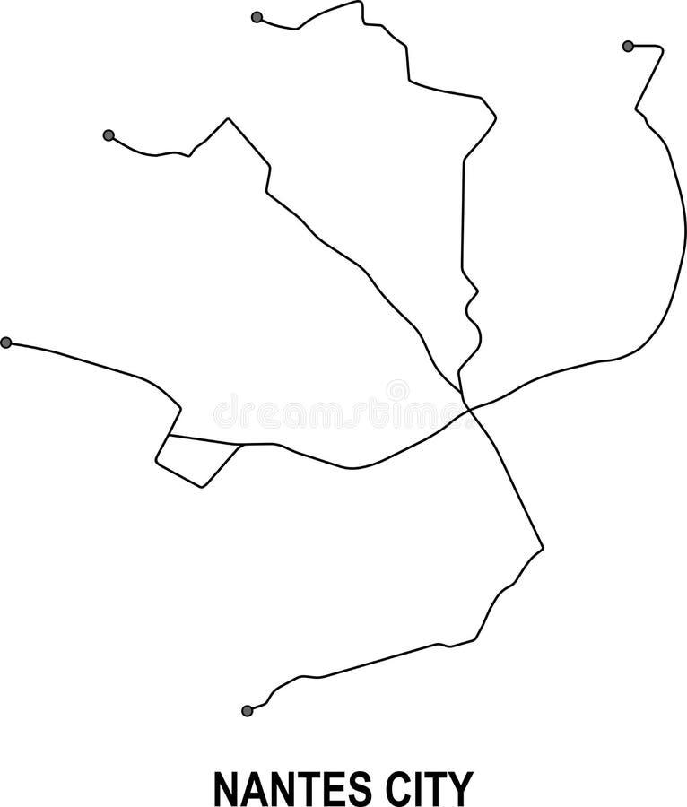 Mapa da cidade de Nantes ilustração do vetor