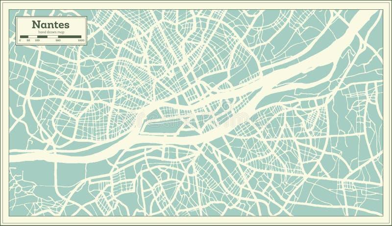 Mapa da cidade de Nantes França no estilo retro Ilustração preto e branco do vetor ilustração stock