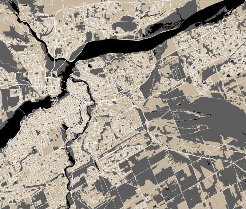 Mapa da cidade de Ottawa, Ontário, Canadá fotos de stock