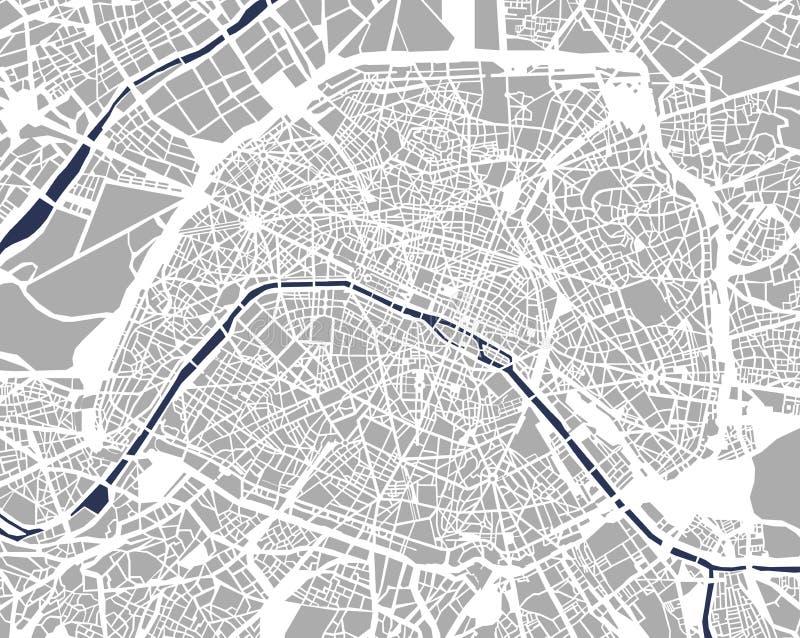 Mapa da cidade de Paris, França ilustração stock