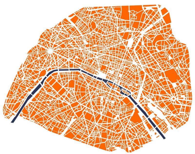 Mapa da cidade de Paris, França ilustração do vetor
