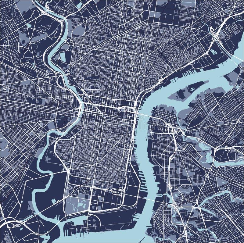 Mapa da cidade de Philadelphfia, Pensilvânia, EUA ilustração royalty free