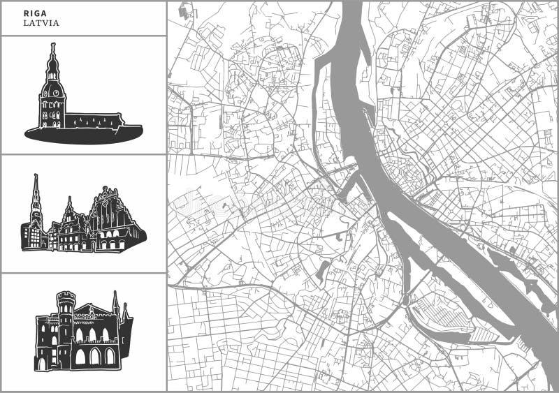Mapa da cidade de Riga com ícones desenhados à mão da arquitetura ilustração stock
