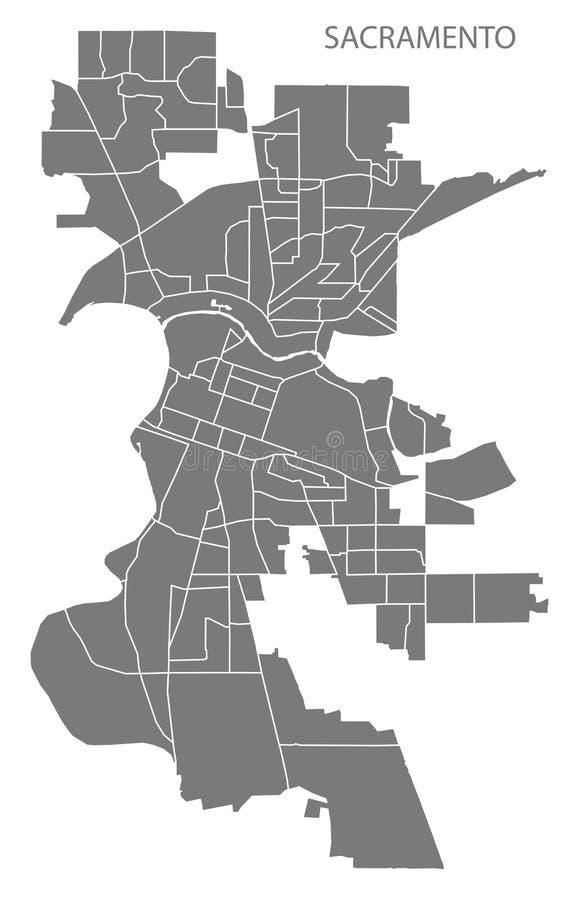 Mapa da cidade de Sacramento Califórnia com illustrat do cinza das vizinhanças ilustração royalty free