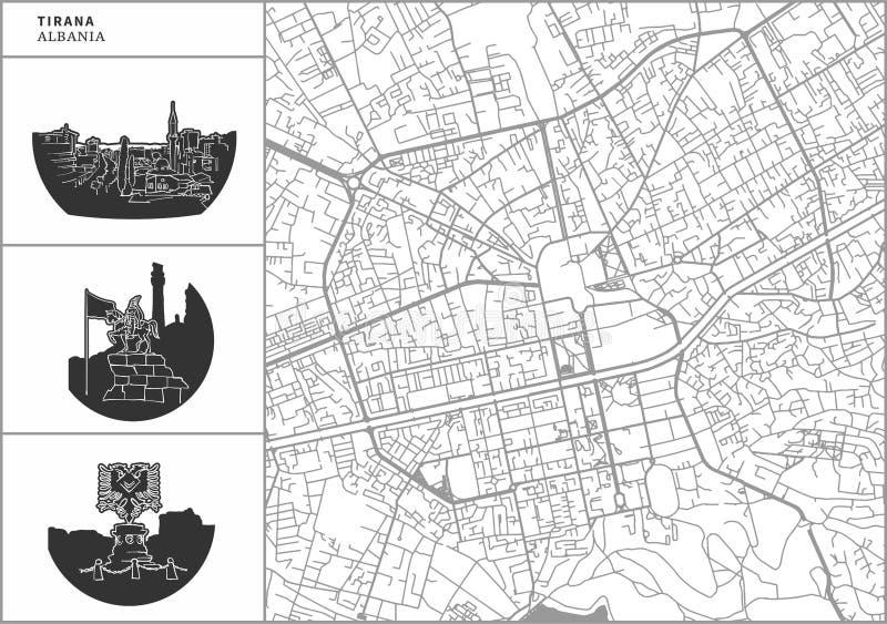 Mapa da cidade de Tirana com ícones desenhados à mão da arquitetura ilustração do vetor