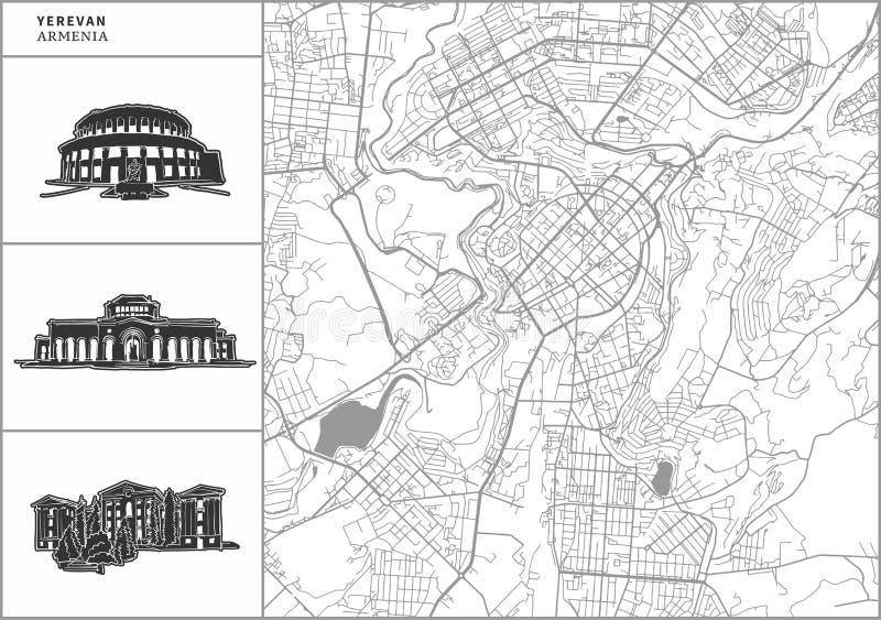 Mapa da cidade de Yerevan com ícones desenhados à mão da arquitetura ilustração do vetor