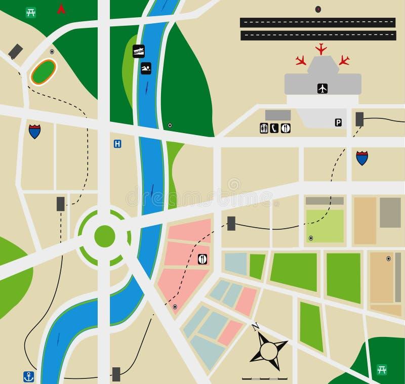 Mapa da cidade do aeroporto ilustração royalty free