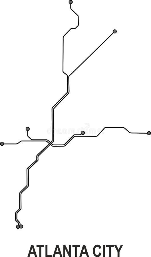 Mapa da cidade do metro de Atlanta ilustração royalty free
