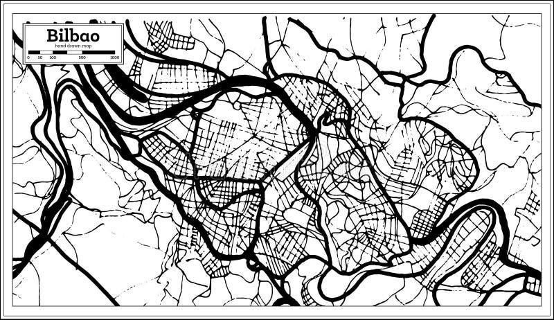 Mapa Da Cidade Da Espanha De Bilbao No Estilo Retro Ilustracao