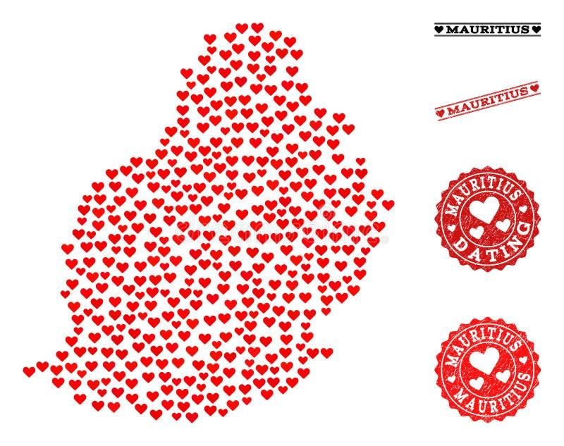 Mapa da colagem do amor de Mauritius Island e de selos do Grunge para Valentim ilustração stock