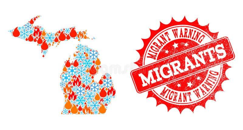 Mapa da colagem do estado do Michigan de chama e neve e selo Textured de advertência emigrante ilustração royalty free