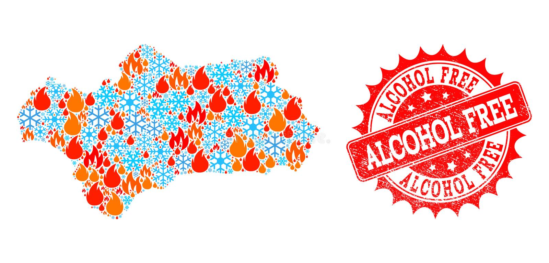 Mapa da colagem da província da Andaluzia da chama e os flocos de neve e selo Textured sem álcool ilustração do vetor