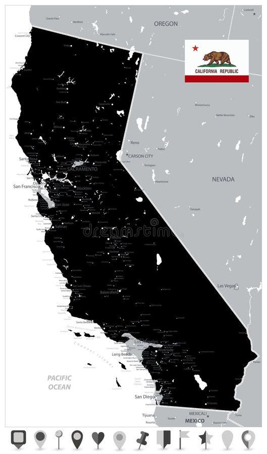 Mapa da cor do preto do estado de Califórnia e de ícones lisos do mapa ilustração stock