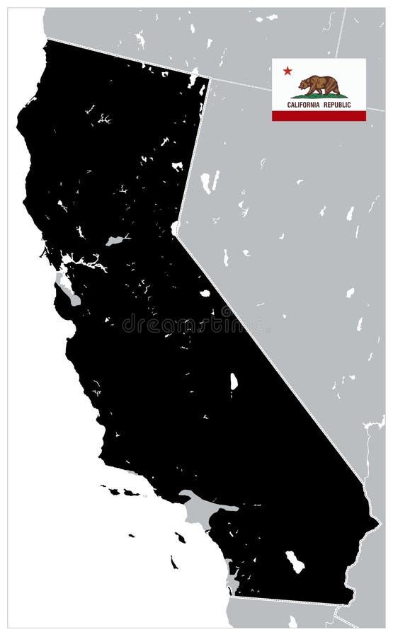 Mapa da cor do preto do estado de Califórnia - nenhum texto ilustração royalty free