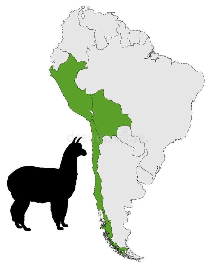 Mapa da escala da alpaca ilustração royalty free