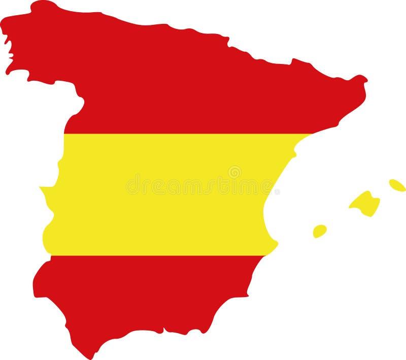 Mapa da Espanha com bandeira ilustração stock
