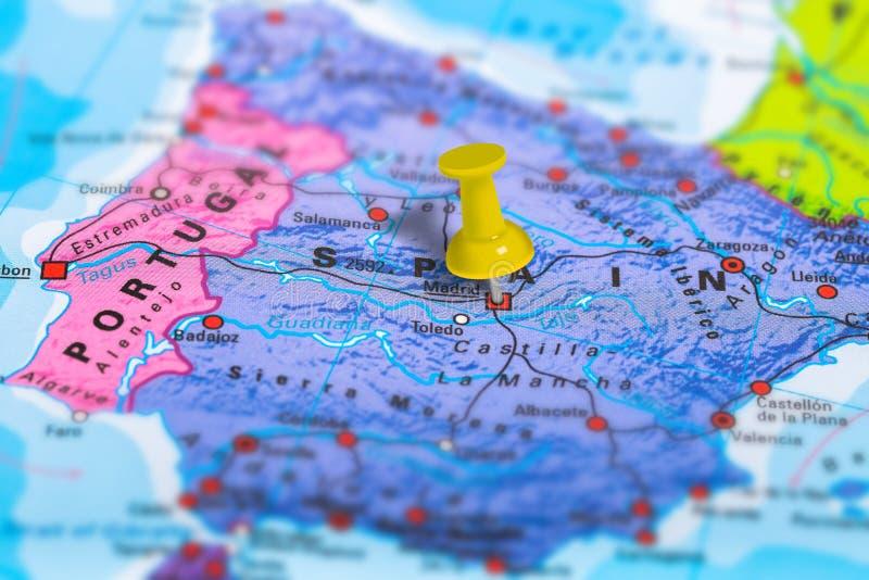 Mapa da Espanha do Madri fotos de stock
