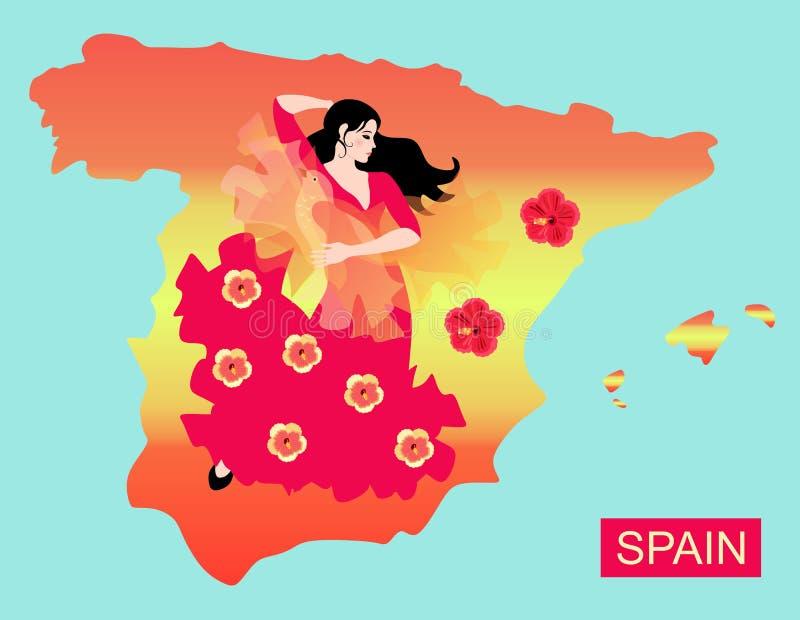Mapa da Espanha na menina espanhola do dançarino das cores e do flamenco da bandeira com manton na forma do pássaro ilustração do vetor