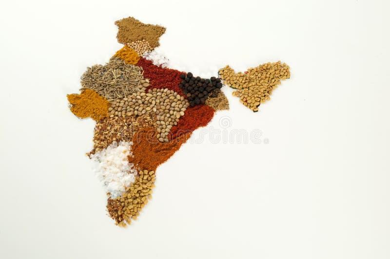 Mapa da especiaria de India fotografia de stock royalty free