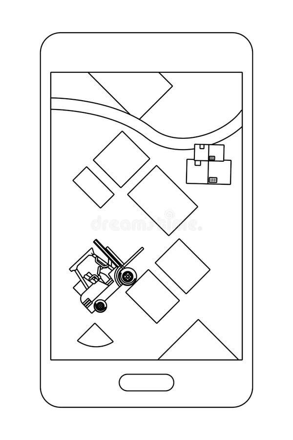 Mapa da exibi??o do telefone celular em preto e branco ilustração stock