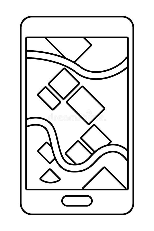 Mapa da exibi??o do telefone celular em preto e branco ilustração royalty free