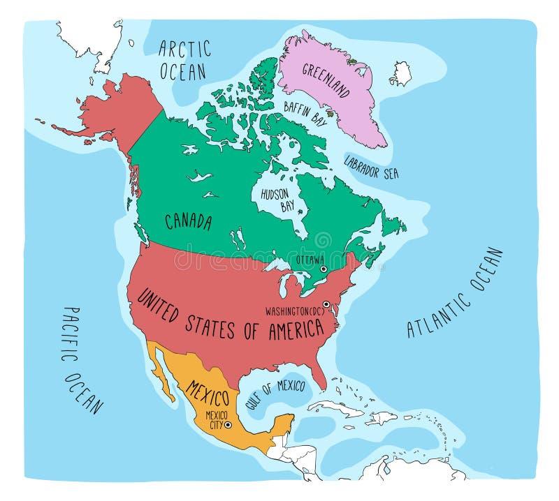 Mapa da garatuja de America do Norte ilustração do vetor